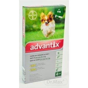 Advantix Spot-on pre psy do 4 kg (4 pipety) 4x0,4 ml