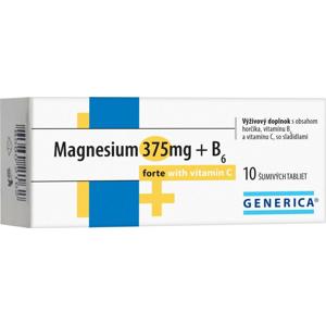 GENERICA Magnesium 375 mg + B6 forte s vitamínom C 10 šumivých tabliet
