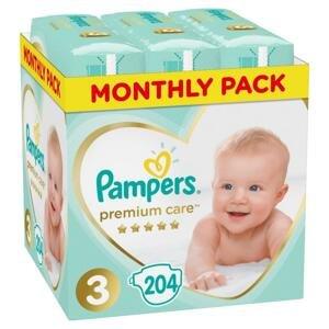 Pampers premium care - mesačné balenie S3 (6 - 10 kg) 204 kusov