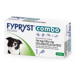 FYPRYST combo 134 mg/120,6 mg PSY 10-20 KG roztok na kvapkanie na kožu pre stredne veľké psy (pipeta) 1x1,34 ml