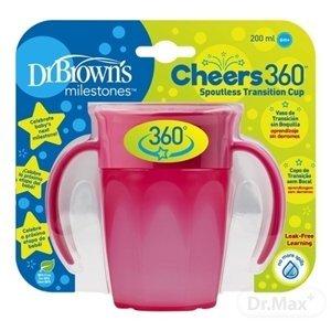 Dr. Brown's hrnček Cheers 200 ml 360° s držadlami růžová