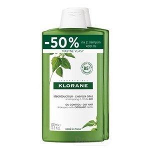 KLORANE SHAMPOOING à l'Ortie BIO (DUO) šampón s bio žihľavou, mastné vlasy (zľava -50% na 2.produkt) 2x400 ml, 1x1 set