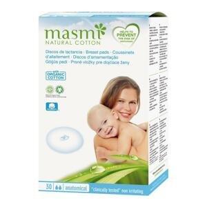 Prsné vložky pre dojčiace ženy z prírodnej bavlny Masmi 30 ks/bal