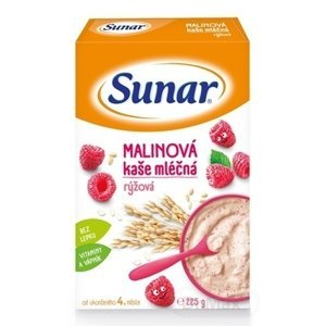 Sunar MALINOVÁ KAŠA mliečna ryžová 225g (od ukonč. 4. mesiaca)
