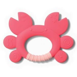 BABYONO Hryzačka silikónovákrab Don 6m+ ružová 1×1 ks, hryzačka pre deti