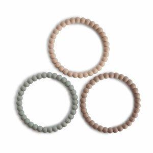 Mushie náramkové hryzátko zo silikónu PEARL clary sage tuscany desert sand 1×1 ks, hryzátko