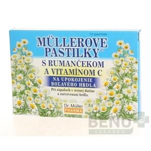 MÜLLEROVE PASTILKY s rumančekom a vitamínom C 12 kusov