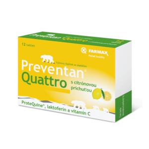 FARMAX Preventan quattro s citrónovou príchuťou 12 tabliet