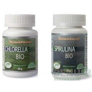 CHLORELLA Extra BIO + SPIRULINA Extra BIO 2x200 ks tbl 2x200