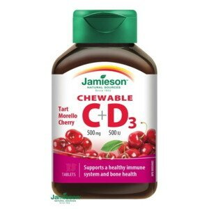 JAMIESON Vitamíny C a D3 500mg / 500 IU  s príchuťou čerešne 30 tabliet