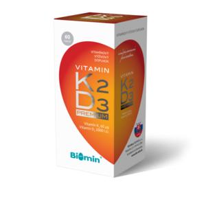 BIOMIN Vitamín K2 + Vitamín D3 2000.I.U. PREMIUM 60 kapsúl