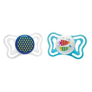 Chicco Cumlík Physio Light silikónový bodky/rybky 16-36m+ 2ks
