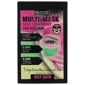 BeautyFormulas Trojzónová pleťová maska pre mastnú pleť 3x5g