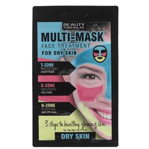 BeautyFormulas Trojzónová pleťová maska pre suchú pleť 3x5g