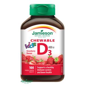 Jamieson Vitamín D3 Kids 400IU tablety na cmúľanie s príchuťou jahody pre deti 100 tabliet