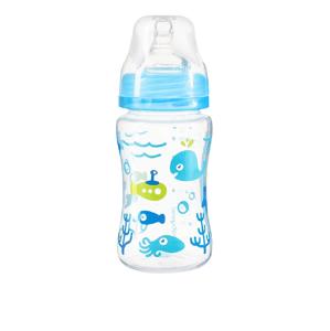 BabyOno Dojčenská antikoliková fľaša široké hrdlo modrá 240ml