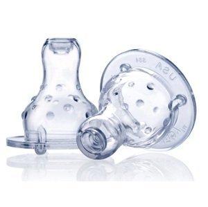 Nuby Silikónový cumlík na fľašu štandard, masážny, nekvapkajúci, samoregulačný 2 ks, 4+m