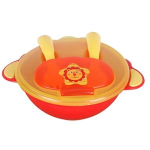 Detská miska s lyžičkou a vidličkou Akuku oranžová