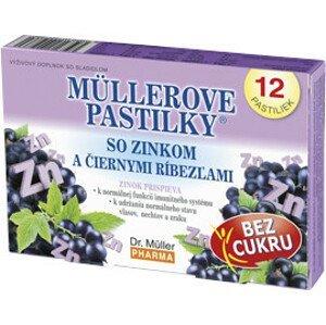 MÜLLEROVE PASTILKY so zinkom a čiernymi ríbezľami bez cukru 12ks