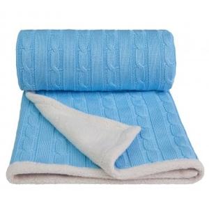Pletená deka winter, modrá 80 x 100 cm