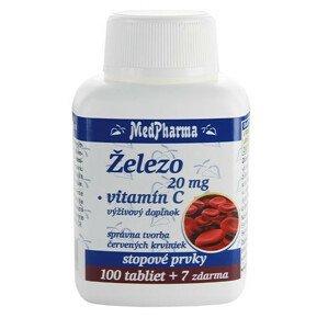 MedPharma Železo 20mg + Vitamín C 100+7tbl zadarmo
