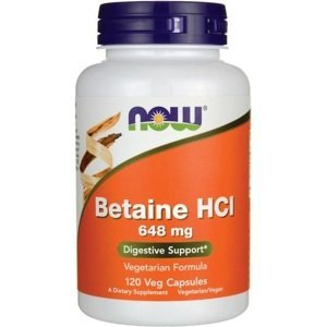 NOW Betaine HCL 648mg Pepsín 150mg 120cps