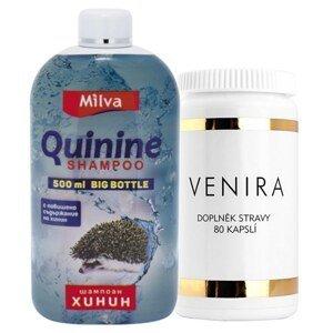 Venira komplexná starostlivosť o vlasy, nechty a pleť, 80 cps+ Milva šampón Chinín BIG 500 ml