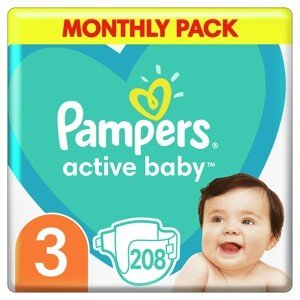 Pampers Active Baby S3 208ks, 6-10kg
