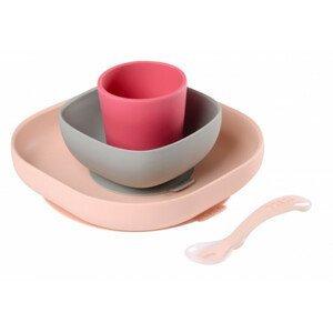 Jedálenská sada silikónová 4-dielna Pink