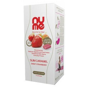 nuMe Mäkká ovocná karamelka sladká jahoda s glukomanánom 126g