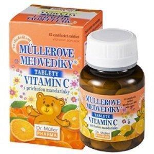 Müllerove medvedíky® tablety s príchuťou mandarínky a vitamínom C 45 ks