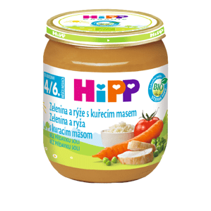HiPP Príkrm BIO Zelenina a ryža s kuracím mäsom 125 g