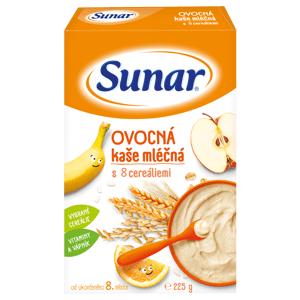 Sunar ovocná kaša mliečna s 8 cereáliami 225g