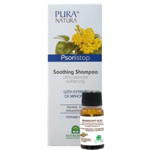 Psoristop šampón s extraktom z mahónie 250ml + Mandľový olej 10 ml zdarma