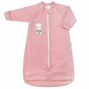 New Baby Dojčenský froté spací vak, 9-12mes. medvedík ružový