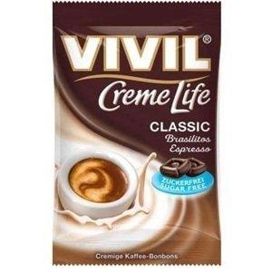VIVIL BONBONS CREME LIFE CLASSIC drops Brasilitos s kávovou príchuťou, bez cukru 110 g