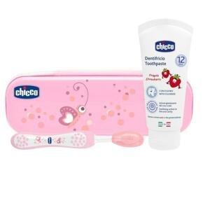 Chicco Set zubná kefka s púzdrom + pasta od 12m+ ružová