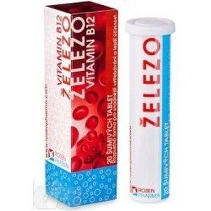 ŽELEZO + Vitamín B12 - RosenPharma tbl eff 20 ks