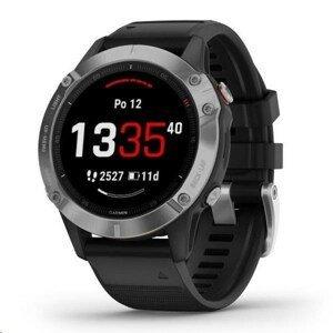 Garmin GPS športové hodinky Fenix6 Glass, Silver / Black Band