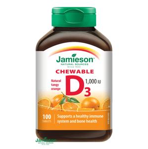 Jamieson Vitamín D3 1000IU tablety na cmúľanie s príchuťou pomaranča 100 tabliet