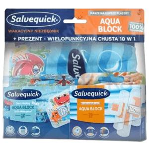 Salvequick Aqua Block Náplasť vodeodolná, sada 16 ks + 12 ks detská + šál zdarma