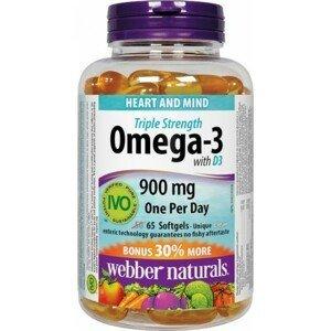 Webber Naturals Omega-3 3jitá sila 900 mg + vit. D3 Bonus IVO cert. 50 +15gel