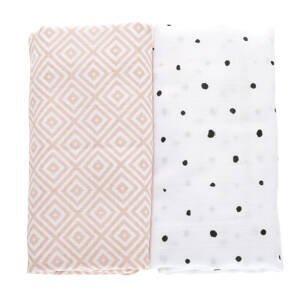 Prikrývka mušelínová 2ks Pink Squares 100x120cm