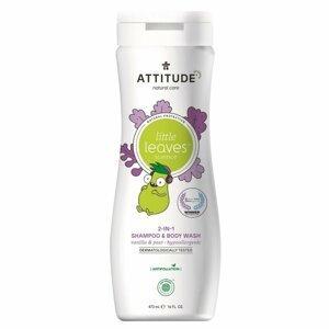 Attitude Detské telové mydlo a šampón (2v1) s vôňou Vanilky a Hrušky Little leaves 473ml