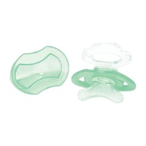 BabyOno Hryzačka silikónová bez BPA v tvare cumlíka s krytom zelená 3m+