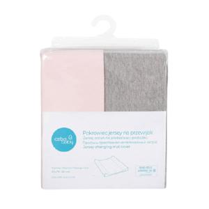 CEBA Poťah na prebaľovaciu podložku 50x70-80cm Light Grey Melange+Pink 2ks