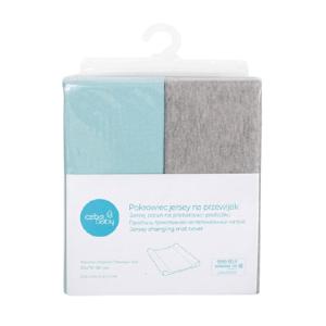 CEBA Poťah na prebaľovaciu podložku 50x70-80cm Light Grey Melange+Turquoise 2ks