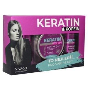 VIVAPHARM Vianoce KERATÍN & KOFEÍN darčekové balenie vlasovej kozmetiky pre ŽENY v papierovom obale