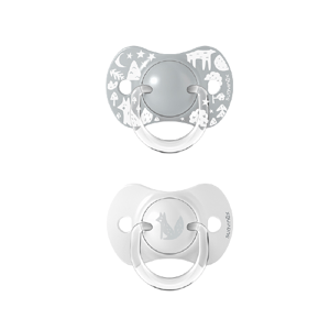 Suavinex Cumlík fyziologický silikon 0–6m Fox stříbrný 2ks